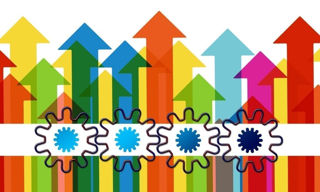 Arrows and gears showing business growth to show how to grow your business online
