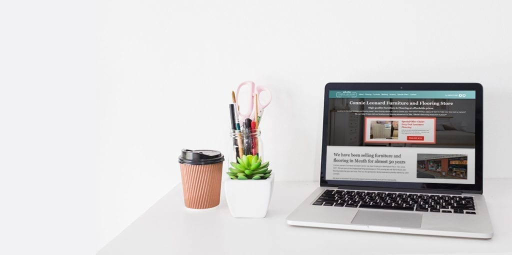 Web Design on Desktop for Connie Leonard Furniture Website Trim Meath