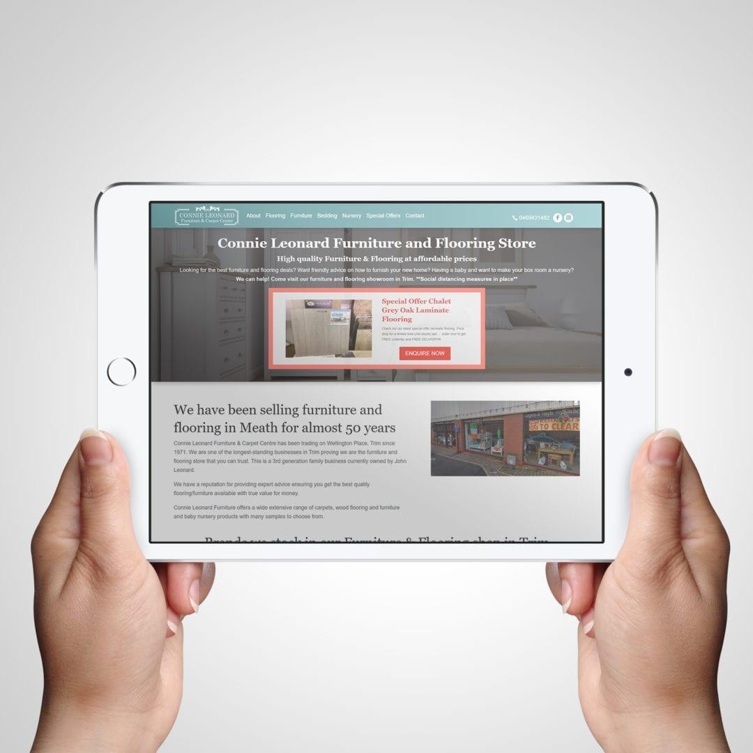 Connie Leonard Flooring & Furniture Website on Tablet - Designed by DesignBurst
