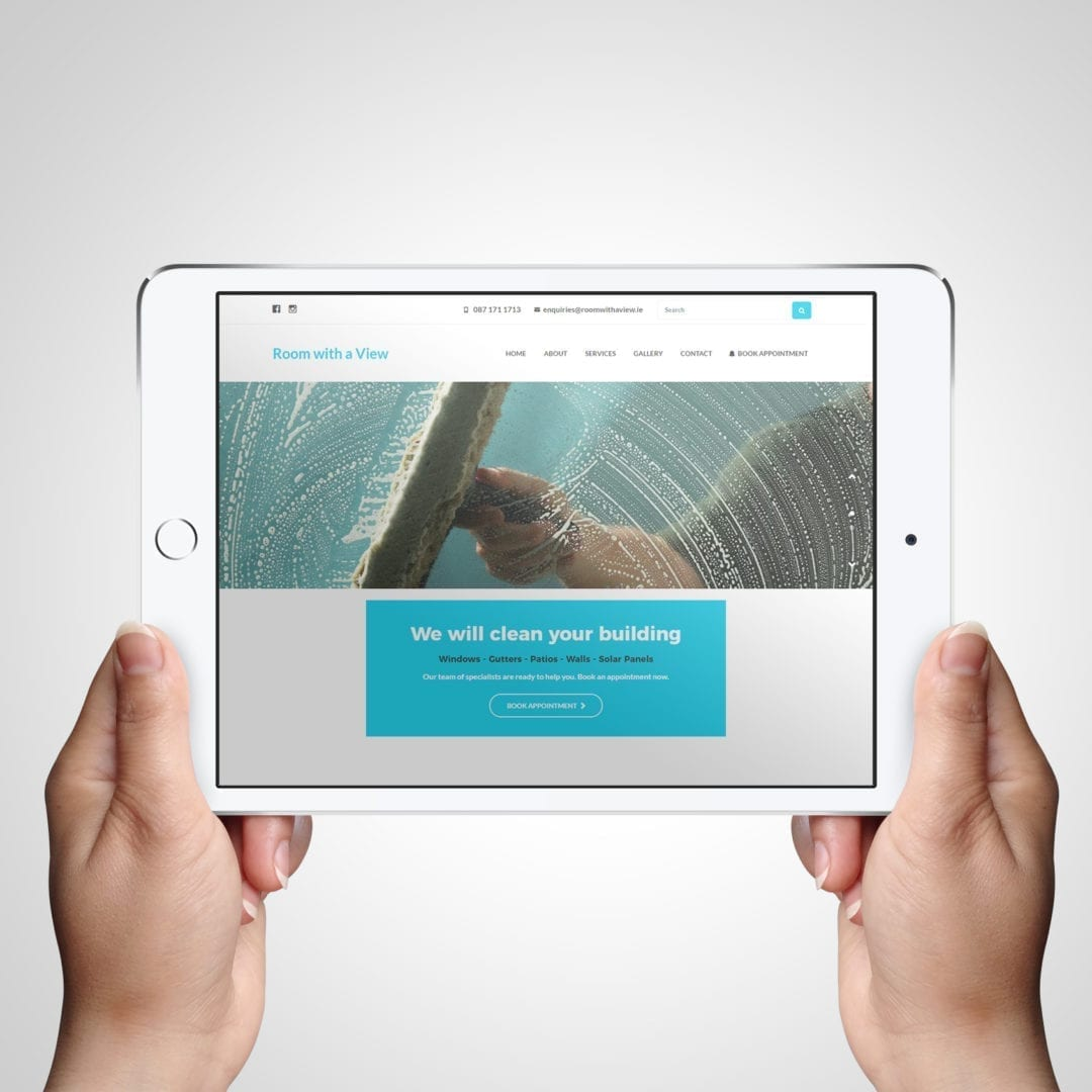 Room with a view window Cleaner website design on tablet
