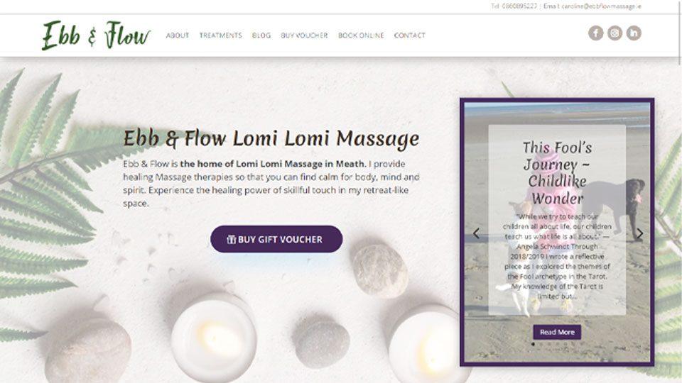 Website Design for Ebb and Flow Massage