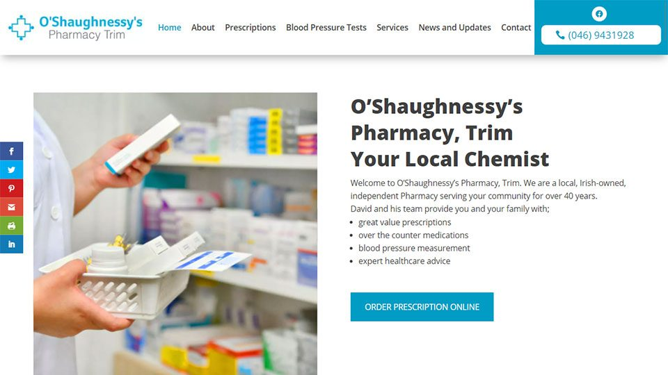 Website Design for O Shaughnessys Online Pharmacy