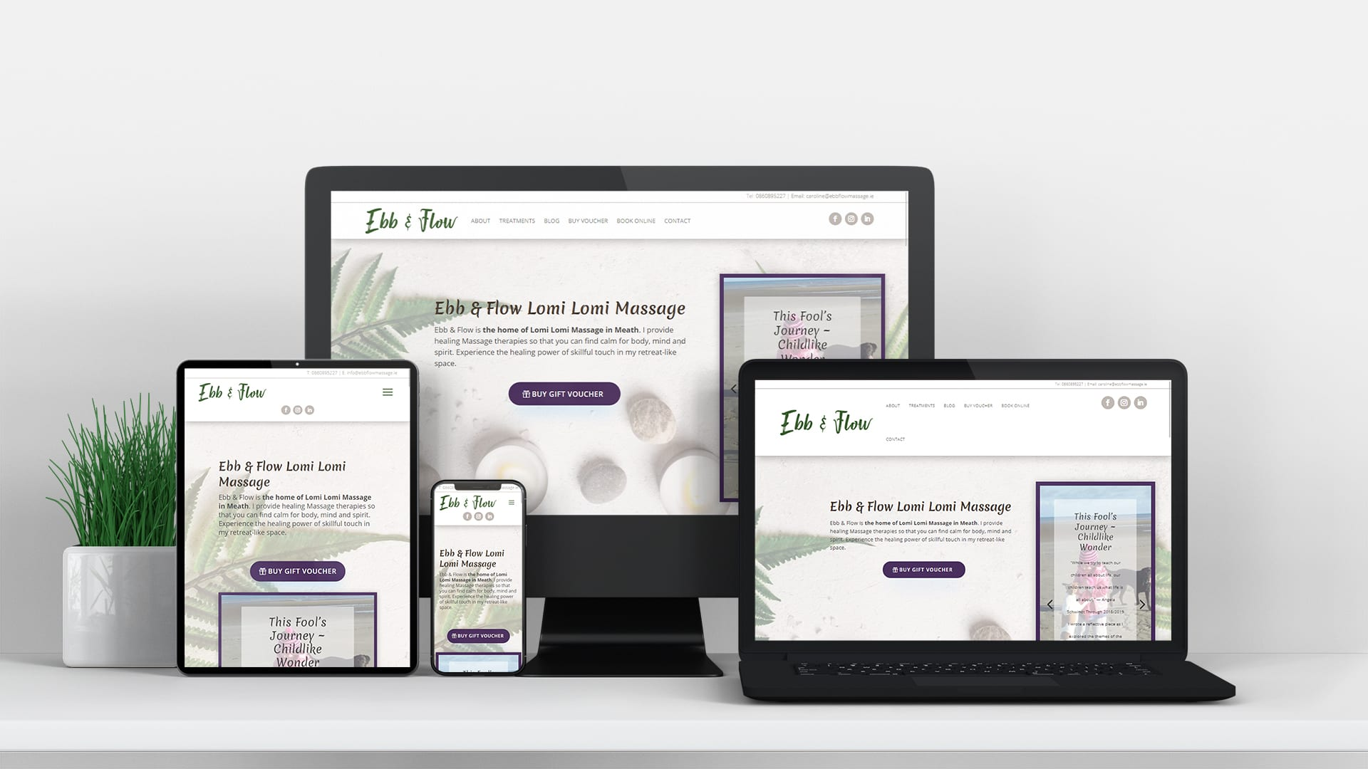 ebb and flow lomi lomi massage holistic massage Ireland design burst website design