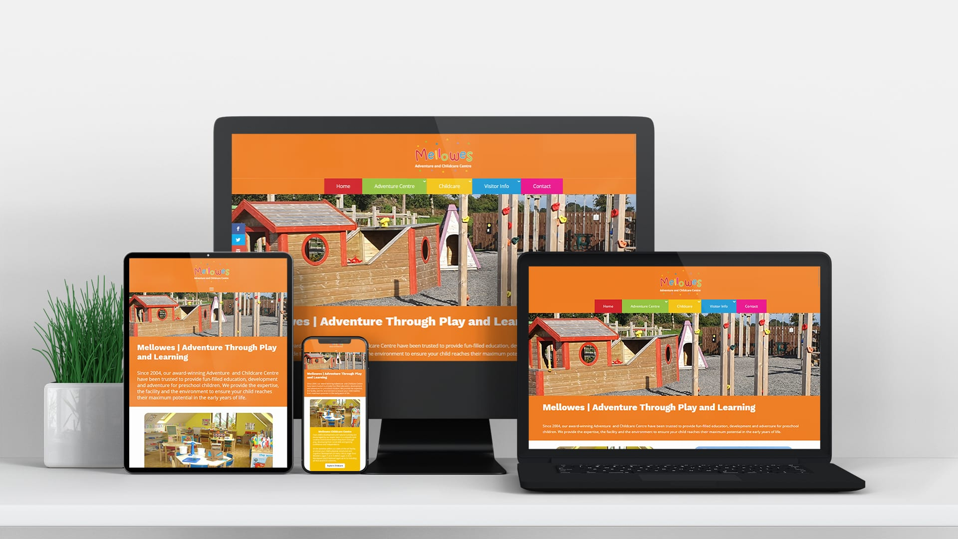 mellows adventure and childcare centre design burst and website design