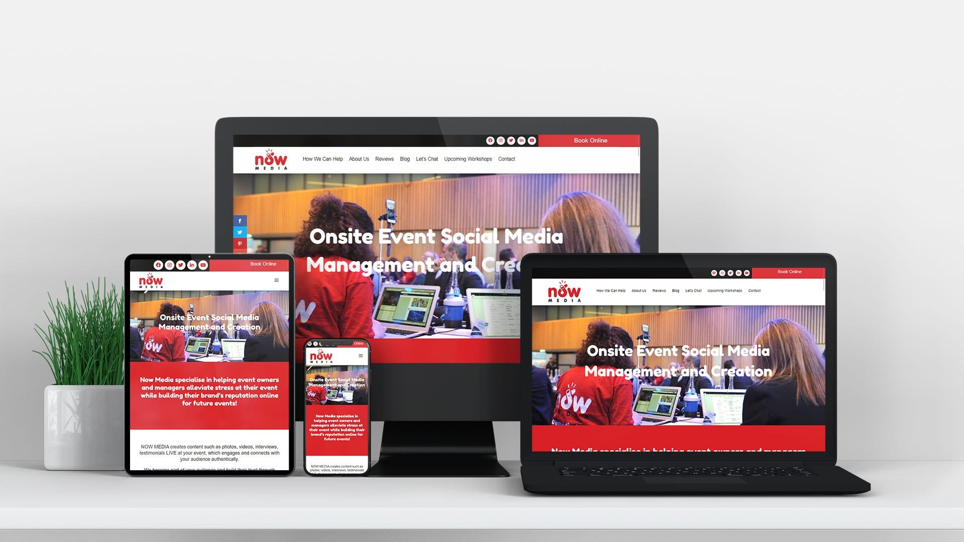 now media social media management and creation design burst website design