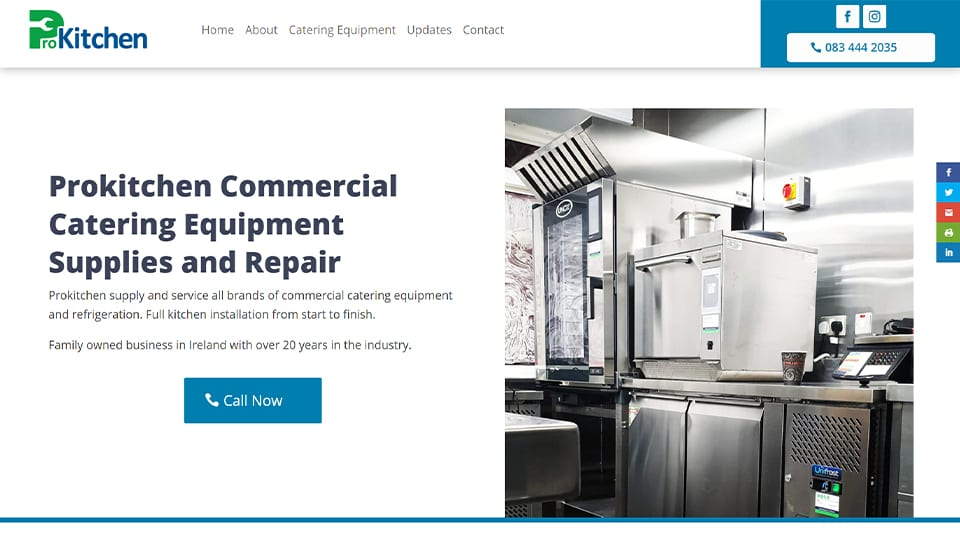 Website Design for Catering Equipment Company